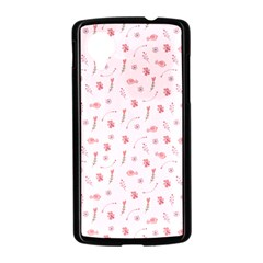 Cute Pink Birds And Flowers Pattern Nexus 5 Case (Black)