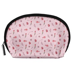 Cute Pink Birds And Flowers Pattern Accessory Pouches (Large)
