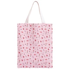 Cute Pink Birds And Flowers Pattern Classic Light Tote Bag