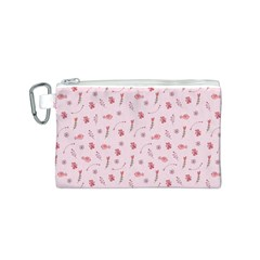 Cute Pink Birds And Flowers Pattern Canvas Cosmetic Bag (S)