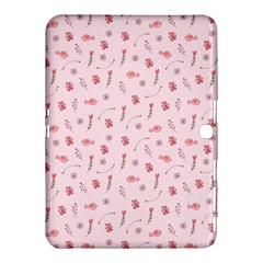 Cute Pink Birds And Flowers Pattern Samsung Galaxy Tab 4 (10.1 ) Hardshell Case