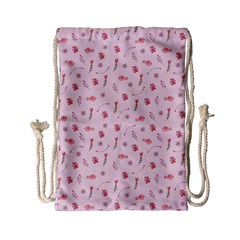Cute Pink Birds And Flowers Pattern Drawstring Bag (Small)