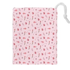 Cute Pink Birds And Flowers Pattern Drawstring Pouches (XXL)