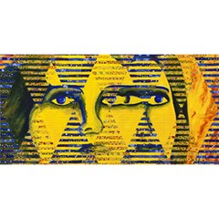 Conundrum Ii, Abstract Golden & Sapphire Goddess You Are Invited 3d Greeting Card (8x4)