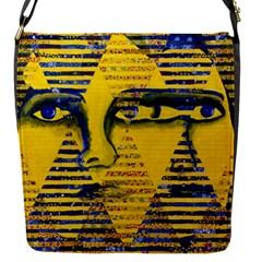 Conundrum Ii, Abstract Golden & Sapphire Goddess Flap Messenger Bag (s)