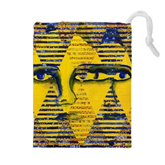 Conundrum Ii, Abstract Golden & Sapphire Goddess Drawstring Pouches (extra Large)