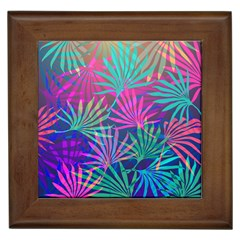 Colored Palm Leaves Background Framed Tiles