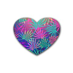 Colored Palm Leaves Background Rubber Coaster (Heart)