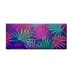 Colored Palm Leaves Background Hand Towel