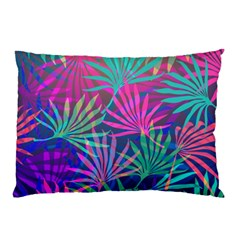 Colored Palm Leaves Background Pillow Case