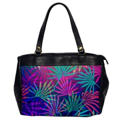 Colored Palm Leaves Background Office Handbags