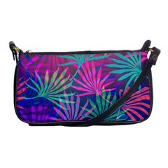 Colored Palm Leaves Background Shoulder Clutch Bags
