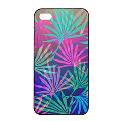 Colored Palm Leaves Background Apple iPhone 4/4s Seamless Case (Black)