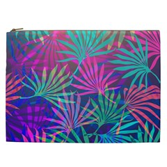 Colored Palm Leaves Background Cosmetic Bag (XXL)