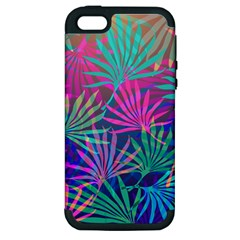 Colored Palm Leaves Background Apple iPhone 5 Hardshell Case (PC+Silicone)