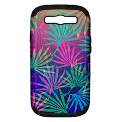 Colored Palm Leaves Background Samsung Galaxy S III Hardshell Case (PC+Silicone)