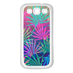 Colored Palm Leaves Background Samsung Galaxy S3 Back Case (White)