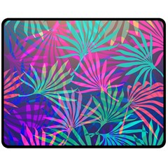 Colored Palm Leaves Background Double Sided Fleece Blanket (medium)