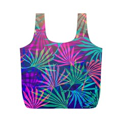 Colored Palm Leaves Background Full Print Recycle Bags (m)