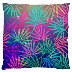 Colored Palm Leaves Background Large Flano Cushion Case (One Side)