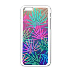 Colored Palm Leaves Background Apple iPhone 6/6S White Enamel Case