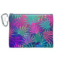 Colored Palm Leaves Background Canvas Cosmetic Bag (XL)