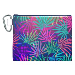 Colored Palm Leaves Background Canvas Cosmetic Bag (XXL)