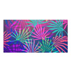 Colored Palm Leaves Background Satin Shawl