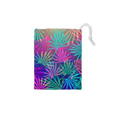 Colored Palm Leaves Background Drawstring Pouches (xs)
