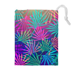 Colored Palm Leaves Background Drawstring Pouches (Extra Large)