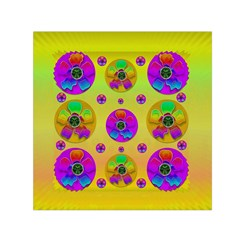 Floral Love And Why Not In Neon Small Satin Scarf (square)