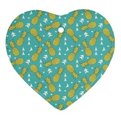 Summer Pineapples Fruit Pattern Ornament (Heart)