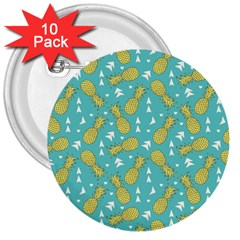 Summer Pineapples Fruit Pattern 3  Buttons (10 pack)