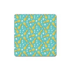 Summer Pineapples Fruit Pattern Square Magnet
