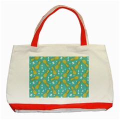 Summer Pineapples Fruit Pattern Classic Tote Bag (Red)