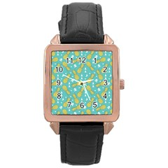 Summer Pineapples Fruit Pattern Rose Gold Leather Watch