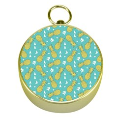 Summer Pineapples Fruit Pattern Gold Compasses