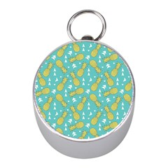 Summer Pineapples Fruit Pattern Mini Silver Compasses