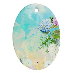 Watercolor Fresh Flowery Background Ornament (Oval)