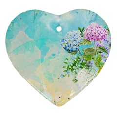 Watercolor Fresh Flowery Background Ornament (Heart)