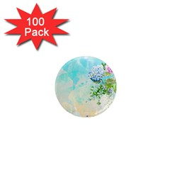 Watercolor Fresh Flowery Background 1  Mini Magnets (100 pack)