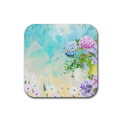 Watercolor Fresh Flowery Background Rubber Square Coaster (4 pack)