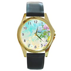 Watercolor Fresh Flowery Background Round Gold Metal Watch