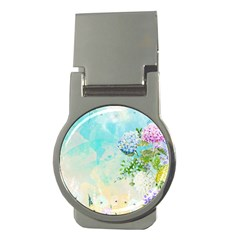 Watercolor Fresh Flowery Background Money Clips (Round)