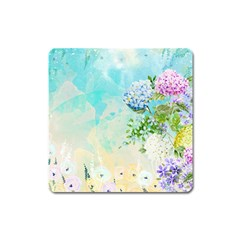 Watercolor Fresh Flowery Background Square Magnet