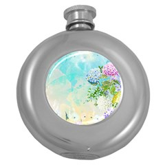 Watercolor Fresh Flowery Background Round Hip Flask (5 oz)