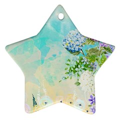 Watercolor Fresh Flowery Background Star Ornament (Two Sides)