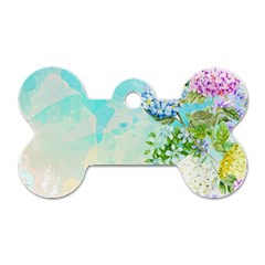 Watercolor Fresh Flowery Background Dog Tag Bone (Two Sides)