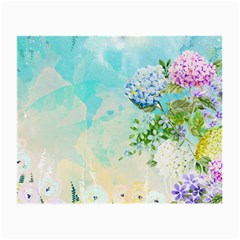 Watercolor Fresh Flowery Background Small Glasses Cloth (2-Side)