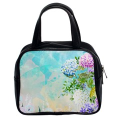 Watercolor Fresh Flowery Background Classic Handbags (2 Sides)